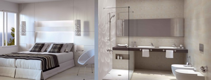 Un ejemplo de los espacios de baño de Roca en hoteles